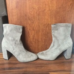 BCBG pull on suede booties